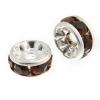 Rhinestone Rondelle (Flat Round) 4.5mm Silver/ Siam Ruby